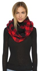Plush Plaid Infinity Scarf Black Red
