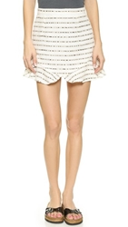 Re Named Striped Flounce Skirt White Black