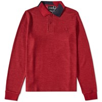 Fred Perry X Raf Simons Long Sleeve Abstract Collar Polo Red