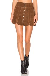 Understated Leather X Revolve Scalloped Snap Skirt Brown