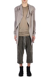 Rick Owens Men's Compact Knit Hooded Cardigan Light Grey White
