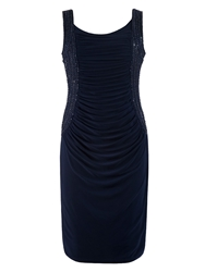 Chesca Ruched Bodice Beaded Dress Navy