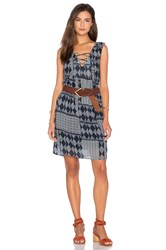 Velvet By Graham And Spencer Sarita Mali Gauze Print Shift Dress Navy