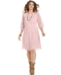 Ing Plus Size Three Quarter Sleeve Lace Dress Pale Pink