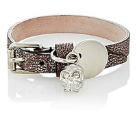 Alexander Mcqueen Men's Leather And Skull Charm Wrap Bracelet Silver