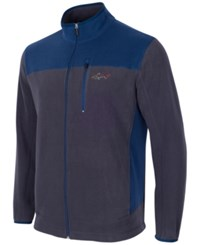 Greg Norman For Tasso Elba Men's Big And Tall 5 Iron Fleece Colorblocked Jacket Blue Grey