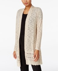 Jm Collection Lace Trim Duster Cardigan Only At Macy's Stone