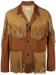 Saint Laurent Lambskin Jacket With Fringing Brown
