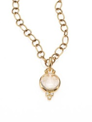 Temple St. Clair Celestial Rock Crystal Diamond And 18K Yellow Gold Small Moonface Pendant