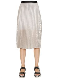 Aviu Plisse Laminated Linen And Silk Skirt