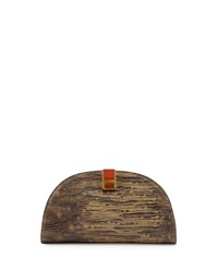 Etienne Aigner Crown Leather Mini Clutch Dusty Olive