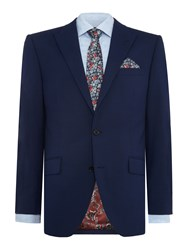 New And Lingwood Wenlock Textured Peak Lapel Suit Jacket Blue