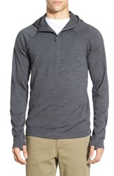 Men's Ibex 'Indie' Merino Wool Half Zip Hoodie Pewter Heather