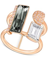 Swarovski Rose Gold Tone Pvd Black And Clear Crystal Statement Ring Multi