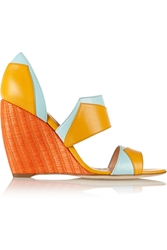 Rupert Sanderson Color Block Leather Wedge Sandals