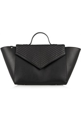 Iris And Ink Lexie Chevron Quilted Leather Tote Black