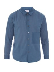 By Walid Ben Patch Pocket Cotton Shirt Blue