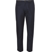 Barena Slim Fit Linen And Cotton Blend Jacquard Trousers Blue
