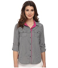 Kut From The Kloth Leslie Collared Button Down Shirt Black White Women's Long Sleeve Button Up