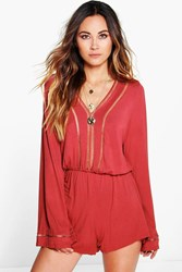 Boohoo Crochet Trim Flute Sleeve Playsuit Rust
