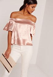 Missguided Crushed Satin Bardot Blouse Pink Beige