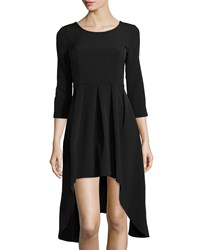 Neiman Marcus Three Quarter Sleeve Pleated High Low A Line Dress Black