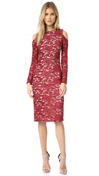 Alice Olivia Laila Open Shoulder Dress Bordeaux Sesame