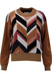 Sonia Rykiel Paneled Cotton Blend Velvet Sweatshirt Multi