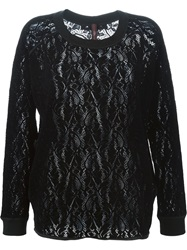 High 'Assume' Lace Top Black