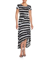 Kensie Hi Lo Cap Sleeve Dress Black White