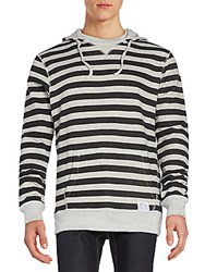 Vive Clothing Co. Striped Hoodie Grey Black