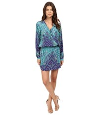 Hale Bob Animal Intuition Dress With Tie Teal Women's Dress Blue