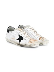 Golden Goose Super Star Distressed Leather And Calf Hair Sneakers White Multi Coloured Black Brown Golden Denim