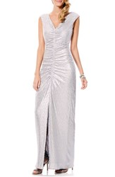 Women's Laundry By Shelli Segal Shirred Metallic Column Gown