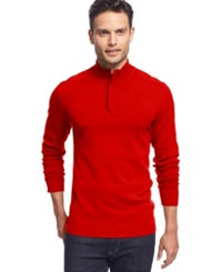 Alfani Red Solid Slim Fit Quarter Zip Sweater Crimson Red