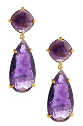 Candela 18K Gold Plated Sterling Silver Amethyst Teardrop Earrings Purple