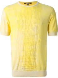 Roberto Cavalli Crocodile Effect Knitted T Shirt Yellow And Orange