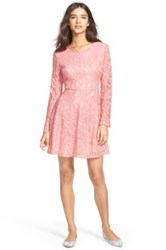 Painted Threads Floral Lace Skater Dress Juniors Pink