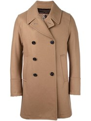Sealup Notched Lapels Double Breasted Coat Brown