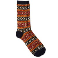 Anonymous Ism Fair Isle Crew Sock Navy And Orange