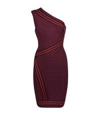 Herve Leger Kayla One Shoulder Bandage Dress Female Burgundy