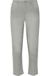 Etoile Isabel Marant Nico Cropped Linen And Cotton Blend Straight Leg Pants Gray
