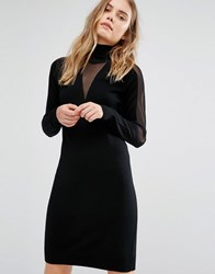 Gestuz Knitted Sheer Panel Dress Black