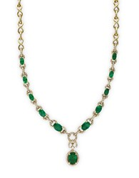 Effy Diamond Emerald And 14K Yellow Gold Necklace 1.05 Tcw Emerald Gold