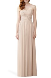 Women's Dessy Collection Embellished Strapless Chiffon Gown
