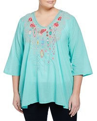 Johnny Was Plus Paloma Embroidered 3 4 Sleeve Blouse Aqua Jade