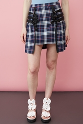 Chloe Sevigny For Opening Ceremony Heather Plaid Pleated Bow Harness Skirt Navy Multi