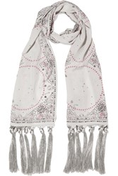 Alexander Mcqueen Fringed Printed Silk Scarf Light Gray