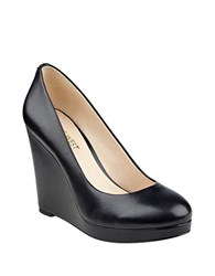 Nine West Halenia Leather Wedge Heel Platforms Black