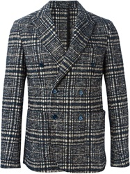 Jeordie's Checked Double Breasted Blazer Blue